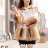 女式圆领中长款獭兔毛美洲貉休闲时尚皮草外套