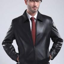 斯美斯男士皮衣真皮夹克2017新款翻领拉链大码