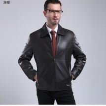 斯美斯 2017春款头层绵羊皮外套 休闲商务真皮夹克男装