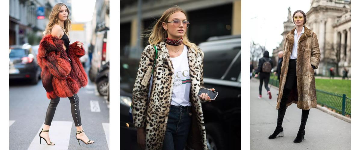 今年最火的长外套应该是豹纹皮草大衣