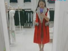 燕菲儿时尚整貂红色马甲