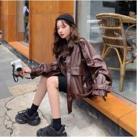 品牌折扣女装爆款皮衣女秋装新款韩版宽松大码立领港风皮夹克皮衣