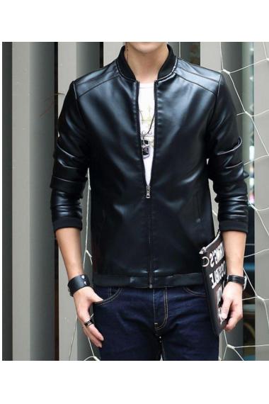 秋冬款男士皮衣休闲外套立领韩版时尚潮流修身机车pu皮夹克男装