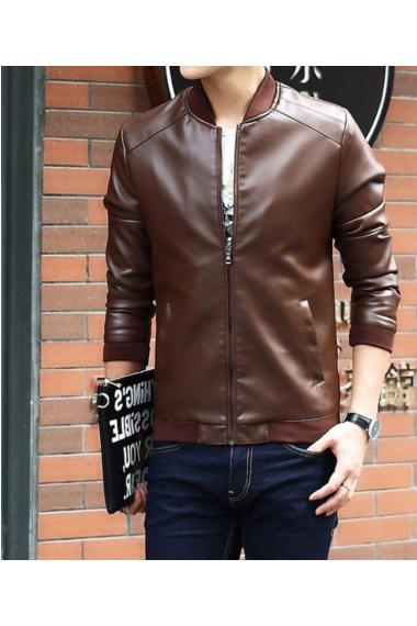男士皮衣休闲外套立领韩版时尚潮流修身机车