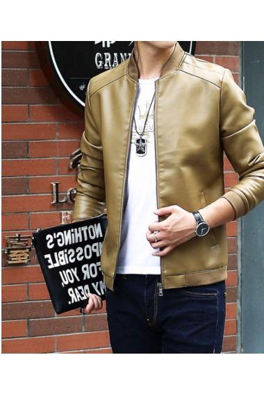 秋冬款男士皮衣休闲外套立领韩版时尚潮流修身机车pu皮夹克