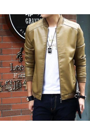 男士皮衣休闲外套立领韩版时尚潮流修身机车pu皮夹克男装